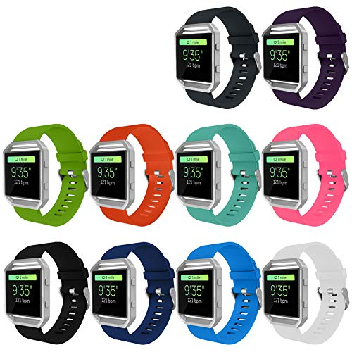 KingAcc Compatible Fitbit Blaze Bands, Soft Accessory Replacement Band for Fitbit Blaze, with Metal Buckle Fitness Wristband Strap Women Men (10-Pack, 10 Colors, Small) [No Frame]