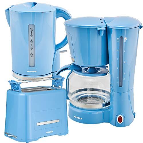 Alaska Frühstücksset 2209 | 3 in 1 | Wasserkocher Toaster Kaffeemaschine | 12 Tassen | 1,7 L | Brötchen-Röstaufsatz | Auftau-, Aufback- und Unterbrechungsfunktion | Abschaltautomatik (Blau)