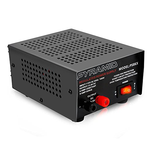 Universal Compact Bench Power Supply - 6 Amp Linear Regulated Home Lab Benchtop AC-to-DC 12V Converter w/ 13.8 Volt DC 115V AC 100 Watt Power Input, Screw Type Terminals - Pyramid PS8KX