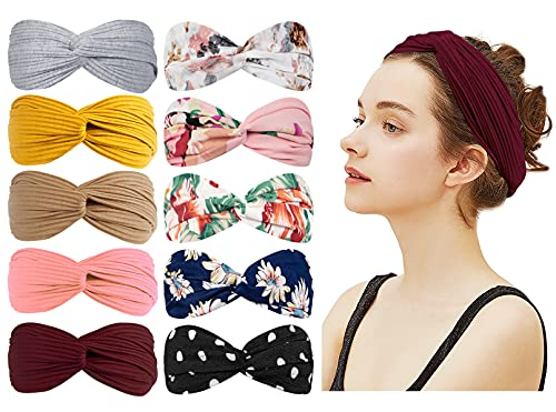 10 Pack Cute Knotted Boho Headbands for Women Fashion Knot Headband Headwraps for Girls Spa Yoga Elastic Headbands Cute Hair Band Vintage Hair Accessories (Style 01)