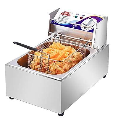 Friteuse D'électricité Électrique 2500W 10L, Acier Inoxydable Frity Fat Deep Friteuse Avec Panier Couvercle Restaurant Commercial Restauration Rapide