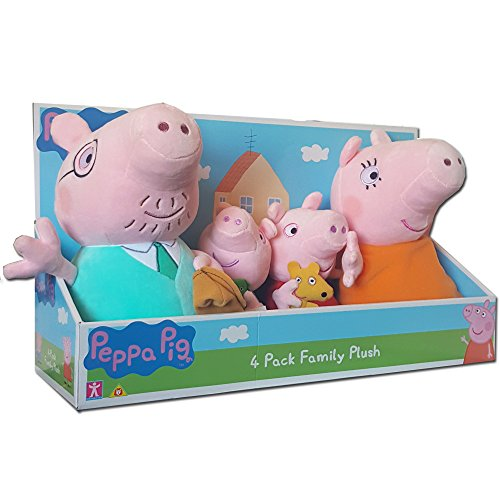 Peppa Pig 4 Family Weiches Plüsch Spielzeug Pack In Display Box