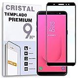 REY - Protector de Pantalla Curvo para Samsung Galaxy J8 Plus 2018 / J8+ 2018, Negro, Cristal Vidrio Templado Premium, 3D / 4D / 5D