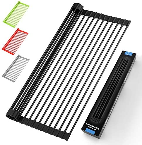 Large 20 5 Multipurpose Roll Up Dish Drying Rack Trivet Heavy Duty Silicone Coated Stainless product image