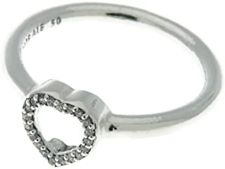 Pandora Women's Heart silver ring with clear cubic zirconia Ring, 6-6.5 US - 196549CZ-53