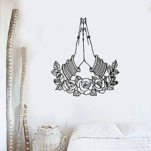 Calcomanía de pared con gestos de yoga, bienvenida, manos, Yoga, meditación, habitación, pegatina de pared, decoración de habitación de Yoga, diseño, calcomanía de vinilo