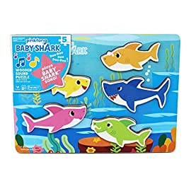 Pinkfong Baby Shark Chunky Wood Sound Puzzle - Plays Baby Shark Song 1 Thick, wooden puzzle pieces trigger the popular Baby Shark Song Features Mommy Shark, Daddy Shark, Grandma Shark, Grandpa Shark, and, of course, Baby Shark Fun way for children to learn shape and sound recognition