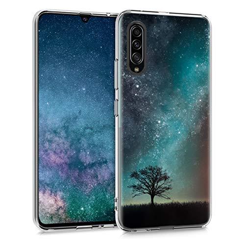 kwmobile Hülle kompatibel mit Samsung Galaxy A90 (5G) - Handyhülle - Handy Hülle Galaxie Baum Wiese Blau Grau Schwarz
