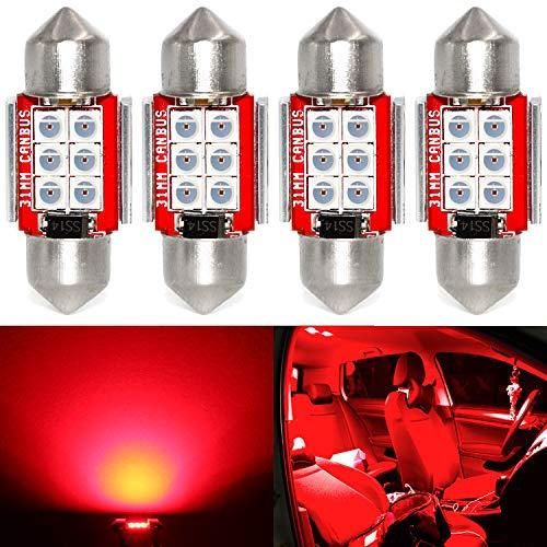 Phinlion Super Bright DE3021 LED Red Bulb 3030 6-SMD Festoon 1.25' 31mm DE3175 DE3022 LED Bulbs for Car Interior Door Map Dome Trunk Courtesy Light, Pack of 4