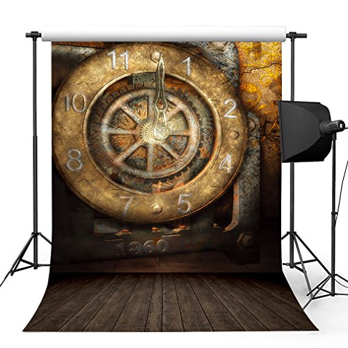 Kooer 5x7ft Steampunk Style Corrosion Of The Clock Photography Backdrops Old Clock Wall Photography Backgrounds Photo Studio Prop Baby Children Family Photoshoot Backdrop Customized Various Size