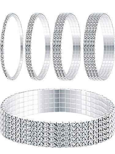Yaomiao 5 Stücke Strass Strecken Armband Fußkettchen Kristall Armband Silber Tennis Armband Hochzeit Schmuck für Damen