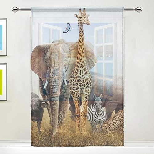 CPYang Durchscheinender Vorhang mit Afrika-Motiv, Elefant, Giraffe, Zebramuster, Voile, Fenstervorhang, Vorhänge für Wohnzimmer, Schlafzimmer, Tür, Küche, 140 x 198 cm, 1 Stück