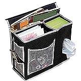 Cicilin Bolsa de almacenamiento para mesita de noche, bolsillos de cama Oxford, portátil, control remoto, organizador para colgar con 6 bolsillos, organizador para sofá o cama, color negro