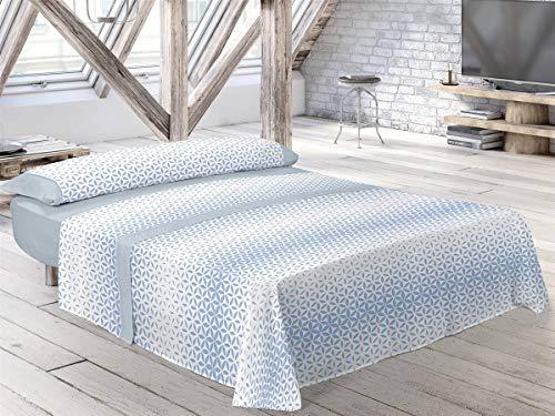 Pierre Cardin - Juego de sábanas ZADAR - Cama 150 Cm - Color Azul C2