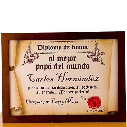 Calledelregalo Diplomas pergamino Personalizados para Todos los destinatarios (Al Mejor papá) con Marco