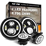 7 Inch LED Halo Headlights with Turn Signal Amber DRL White+ 4 '' Halo Fog Lights for Jeep Wrangler 1997-2017 JK JKU TJ LJ Rubicon Sahara Unlimited White DRL/Amber