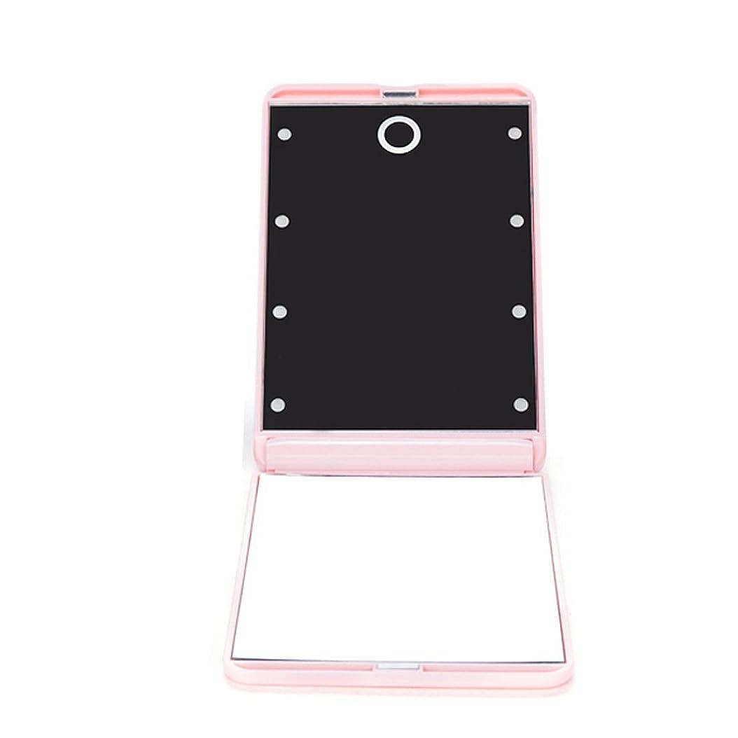 正義刑務所添加剤ledミラー 折りたたみ式 メイクミラー LEDライト 角度/明るさ調整 コンパクト 化粧鏡 二面鏡 ミラー 2倍拡大鏡付 8灯手鏡 ピンク