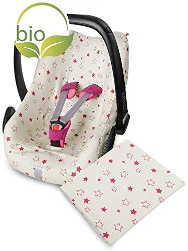 ByBoom® - Sommerbezug für Babyschale z.B. Maxi-Cosi mit Babydecke 70x100 cm aus 100% BIO-BAUMWOLLE mit Motiv; VORTEILSPACK, Farbe:Natur - Sterne Fuchsia