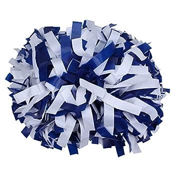 ICObuty Plastic Cheerleading Pom pom 6 inch 1 Pair Royal Blue-White