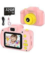 Kinderen Digitale Camera Speelgoed Peuter Camera Speelgoed 2 Inch HD Scherm 1080P 32GB TF Card Jongens en Meisjes Geschenken Speelgoed voor 3 tot 12 Jaar Oud (Roze)