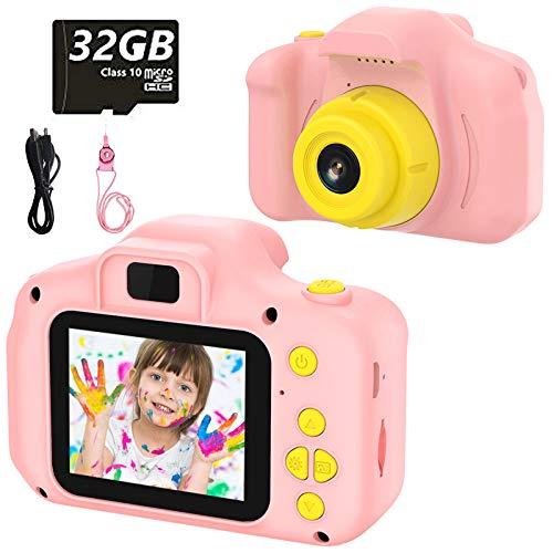 Cámara Digital para Niños Juguetes de Niña Regalos para Niños Pantalla HD de 2 Pulgadas 1080P Tarjeta de 32GB TF Regalos de Juguete para Niños de 3 a 12 años de Niños y Niñas Cumpleaños (Rosa)