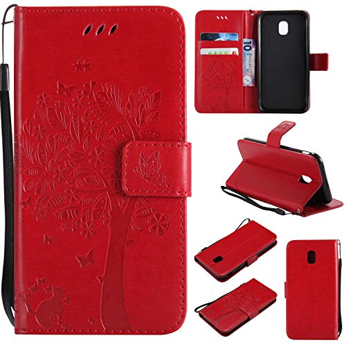 BoxTii® Coque Galaxy J3 2017, Galaxy J3 2017 Magnetic Housse Coque, Etui en Cuir pour Samsung Galaxy J3 2017 (#6 Rouge)