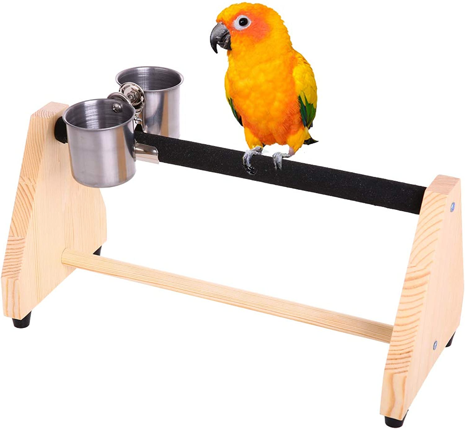 QBLEEV Parred Play Wood Stand Bird Grinding Perch Table Platform Birdcage Stands with Feeder Dish Cup Portable Table Playstand for Small Cockatiels, Conures, Parakeets, Finch
