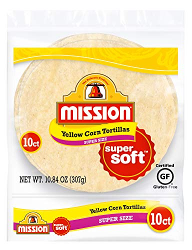 Mission Super Size Yellow Corn Tortillas, Gluten Free, Trans Fat Free, Large Soft Taco Size, 10 Count