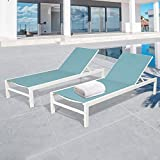 Peak Home Furnishings 2 Pieces Outdoor Aluminum Chaise Lounge Chairs Patio Sling Sun Lounger Set Recliner with Wheels (Turquoise)