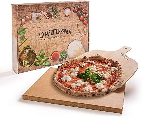 Mediterranea Pietra refrattaria per Pizza da Forno con Pala Pizza in Legno Versione 2020 Adatta a Tutti i Tipi di forni, Un ricettario e dei Consigli per l'uso