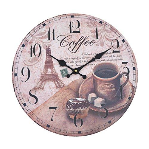 Vevendo Wanduhr - Coffee - Holz Küchenuhr mit großem Ziffernblatt aus MDF, Retro Uhr im angesagtem Shabby Chic Design mit leisem Quarz-Uhrwerk, Ø: 32 cm