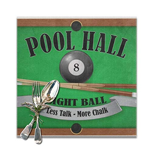 best gift Billiard Poster Pool Hall Eight Ball Placemats for Dining Table,Washable Placemat Set of 6, 12x12 inches