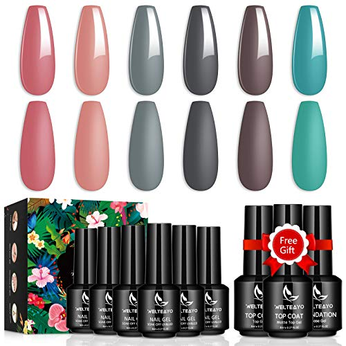 Base Nagellack Uv Farbgel,6+3 Pcs Shellac Nagellack Set,UV Nägel Set Gelfarben Für Nägel,Shellac Nagellack Für Nail Art,WELTEAYO Gel Nagellack für Nageldesign,8ml (Nudefarben)
