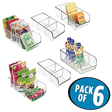 mDesign Plastic Food Packet Kitchen Storage Organizer Bin Caddy - Holds Spice Pouches, Dressing Mixes, Hot Chocolate, Tea, Sugar Packets in Pantry, Cabinets or Countertop - BPA Free - 6 Pack, Clear
