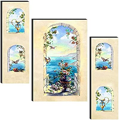 SAF Set of 3 Nature Scenery UV Textured Self adeshive MDF Board Painting 24 Inch X 18 Inch SAFWF15