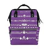 LINDATOP - Juego de bolsas de pañales con estampado de bordes de Halloween, mochila de viaje para mamá, gran capacidad y multifunción, elegante y duradera bolsa de lactancia