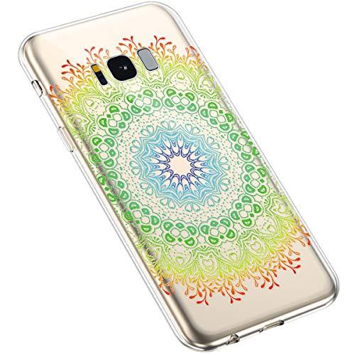 Uposao Kompatibel mit Samsung Galaxy S8 Hülle Silikon Transparent Durchsichtig Handyhülle Mandala Henna Blumen Traumfänger Muster Motiv Crystal Clear Case Schutzhülle Dünn Slim Tasche,#1