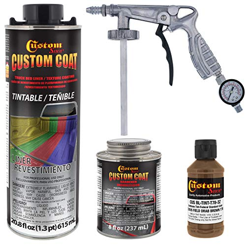 Custom Coat Federal Standard Color # 33105 Field Drab Brown T78 Urethane Spray-On Truck Bed Liner, 1 Quart Kit with Spray Gun and Regulator - Durable Textured Protective Coating - Easy Mix Car Auto