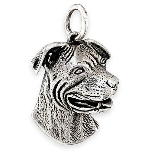 Solid Sterling Silver Staffordshire Terrier (Pitbull/Staffy) Dog Pendant (Handmade UK)