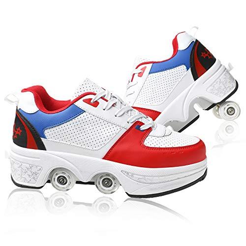 DUDUCHUN Zapatos Multiusos 2 En 1 Zapatos con Ruedas Patines De Cuatro Ruedas Zapatos Deportivos Unisex Ruedas Ocultas para Viajes Al Aire Libre Patines En Línea