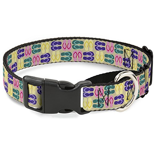 Buckle-Down Flip flops4 Sand/Multi Farbe Martingale Hundehalsband, 2,5 cm Wide-fits 22,9–38,1 cm Neck-small