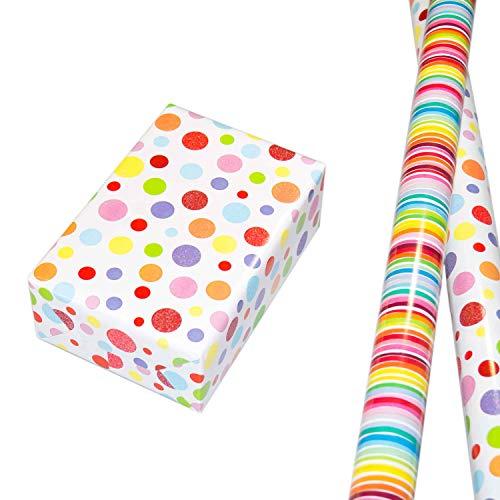Geschenkpapier Set 2 Rollen (75 x 150 cm), modernes Streifen Geschenkpapier, Punkte-Design hochwertig mit Glitter veredelt. Für Geburtstag, Kinder. Motiv Ballero und Louisdor, edel und hochwertig.