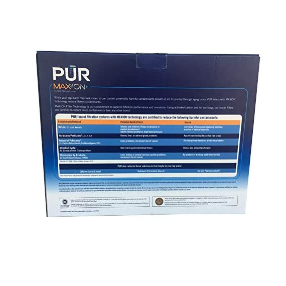 PUR Faucet Mount Replacement Filter, 5 pk. 2 5 individually wrapped Filters included in sealed box. Each filter provides up to 100 gallons or 3 months of filtered water Certified to remove 99% of lead, 96% of mercury and 92% of certain pesticides