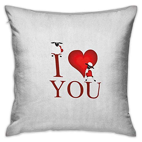 I Love You Square Funda de almohada personalizada Ilustración de estilo cómic Forma de corazón rojo grande con texto y un par de fundas de cojín de oveja rojo blanco Fundas de almohada para sofá Dormi