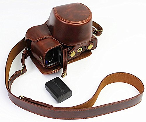 Full Protection Bottom Opening Version Protective PU Leather Camera Case Bag with Tripod Design Compatible For Sony ILCE6000 a6000 with 16-50 mm lens Dark Brown