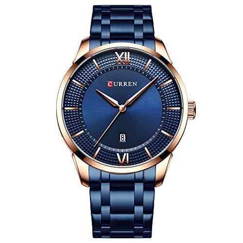 Relojes para Hombre Relojes Elegantes de Acero Inoxidable a Prueba de Agua Reloj de Cuarzo -B