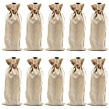 Burlap Wine Bags with Drawstrings, Wine Bags Gift - Single Reusable Bottle Bags Perfect for Travel,...