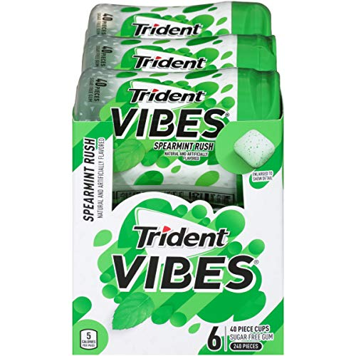 Trident Vibes Spearmint Rush Sugar Free Gum, 6 Bottles of 40 Pieces (240 Total Pieces)