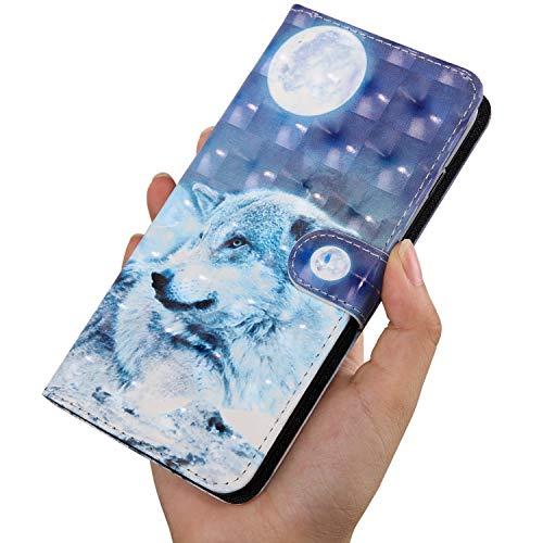 KANTAS PU Custodia in Pelle per Nokia 6.1 Eleganti Flip Cover con [Slot Portafoglio] [Chiusura Magnetica] [Soporto Stand] Case Modello di Pittura - Lupo di Neve