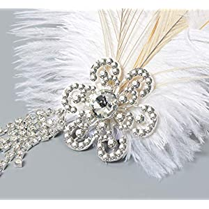 BABEYOND Vintage 1920s Flapper Headband Roaring 20s Great Gatsby Headpiece with Peacock Feather 1920s Flapper Gatsby Hair Accessories